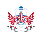 Winged military Star emblem created with imperial crown and luxu Stock Images