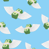 Winged money seamless pattern. Cash in  blue sky Stock Image
