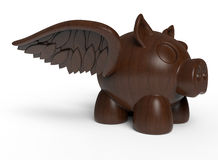 Winged piglet wood sculpture. 3D rendered illustration of a wooden sculpture representing a winged piglet. The composition is isolated on a white background with Stock Photos