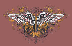 Winged pistols design. A vector illustration t-shirt design made up of two pistols with wings and some vine elements Stock Photos