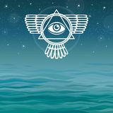 Winged pyramid. Knowledge eye. Bermuda Triangle. Mystical symbol on a sea background. Stock Images