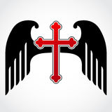 Winged red cross. Simple illustration od red cross with black wings royalty free stock images