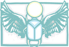 Winged Scarab Color Stock Photo
