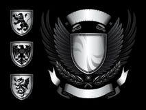 Winged Schild-Abzeichen Lizenzfreies Stockbild