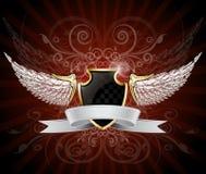 Winged Schild und Fahne Lizenzfreie Stockfotografie