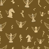 Winged seamless chess Royalty Free Stock Photography