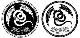 Winged serpent fantasy black&white emblem Royalty Free Stock Image