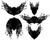 Winged shields set Stock Photography