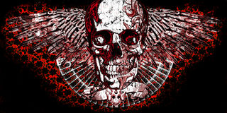 Winged Skull. Illustration with classic rocker influence Royalty Free Stock Photos