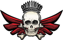 Winged skull. Illustration with winged skull drawn in tattoo sketch style Royalty Free Stock Photography