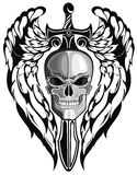Winged skull with sword Royalty Free Stock Photos