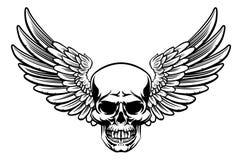 Winged Skull Vintage Engraved Woodcut Style Stock Image