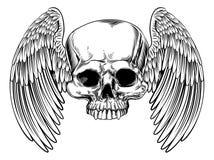 Winged Skull Vintage Retro Woodcut Style Stock Photo