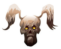 Winged Skull with Yellow Mystic Glowing Eyes. Royalty Free Stock Image