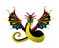 Winged snake rainbow Stock Images