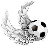 Winged soccer ball Stock Photo