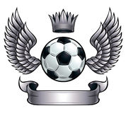 Winged soccer ball emblem. Winged soccer ball emblem with crown and ribbon. Metallic color Royalty Free Stock Photo