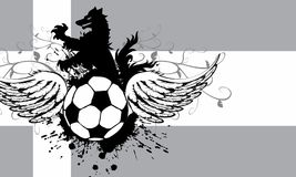 Winged Soccer wolf crest coat of arms background. Heraldic soccer wolf crest coat of arms background in vector format very easy to edit Royalty Free Stock Image