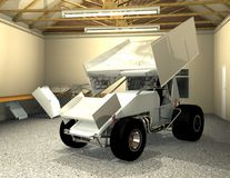 Winged Sprint Car. A garaged winged sprint car ready for race wrap graphics. Complete with aluminum front and top wings. With installed fiberglass body Royalty Free Stock Photos