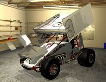 Winged Sprint Car 2. 3D model of a winged sprint car with letters and decals. Ready to race on Saturday night Stock Images