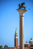 Winged St Mark Lion symbol of Venice on its column - Venice, Ita Stock Photography