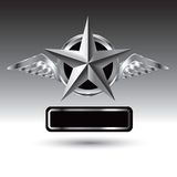 Winged star over nameplate Royalty Free Stock Image