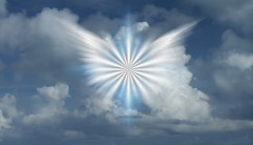 Winged star. In cloudy sky. 3D rendering Royalty Free Stock Images