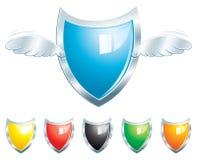 Winged Steel Shield Stock Image