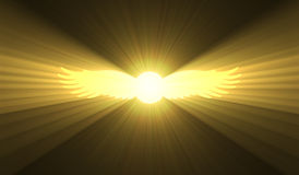 Winged sun Egyptian symbol light flare. Glowing solar disk with wings. Ancient Egypt divinity royalty sign. Mysterious magical power sign Stock Images