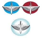 Winged sword. Heraldic motif wings and sword Royalty Free Stock Photos