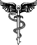 Winged sword and Snake. Woodcut variant image of the Rod of Aesculapius with a snake entwined sword Royalty Free Stock Photography