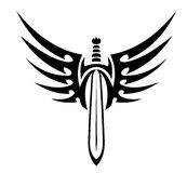 Winged sword tribal tattoo Stock Image
