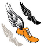 Winged Track Shoe. Track athletic sports running shoe logo with wings Stock Image