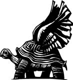 Winged Turtle. Woodcut style turtle with spread wings getting ready to fly Royalty Free Stock Images