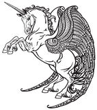 Winged unicorn black and white Stock Photos