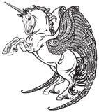 Winged unicorn black and white Stock Photos