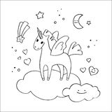Winged Unicorn in the clouds in hand-drawn style. Stock Photography