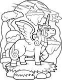 Winged unicorn is preparing to fly Royalty Free Stock Photography