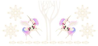 Winged unicorns in magic winter forest, golden snowlakes and ornamental border isolated on white background. Beautiful endless border. Vector illustration stock illustration