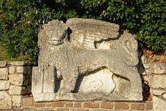 Winged venetian lion on the entrance of Trsat castle, Rijeka royalty free stock images