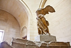Winged Victory of Samothrace 3. Winged Victory of Samothrace or Nike of Samothraceat in the Louvre museum, Paris, France on April 16, 2012. The sculpture has Royalty Free Stock Images