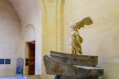 The Winged Victory of Samothrace. Also called the Nike of Samothrace, ancient Greek marble statue in the Louvre Museum, Paris, France Stock Images