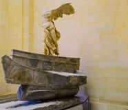 The Winged Victory of Samothrace. Also called the Nike of Samothrace, ancient Greek marble statue in the Louvre Museum, Paris, France Stock Image