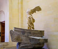 The Winged Victory of Samothrace. Also called the Nike of Samothrace, ancient Greek marble statue in the Louvre Museum, Paris, France Royalty Free Stock Images