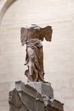 THE WINGED VICTORY OF SAMOTHRACE IN LOUVRE. There are many amazing and well-known artwork in Louvre, The Winged Victory of Samothrace is one of those sculptures Stock Image