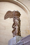 THE WINGED VICTORY OF SAMOTHRACE IN LOUVRE. There are many amazing and well-known artwork in Louvre, The Winged Victory of Samothrace is one of those sculptures Stock Photo