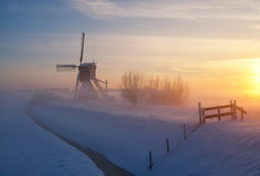 Wingerdse-Mühle im wintermood Lizenzfreies Stockbild