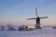 Wingerdse młyn w wintermood Obrazy Royalty Free