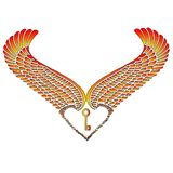 Wingheart and Key. Fire color wing heart and Key Stock Photos
