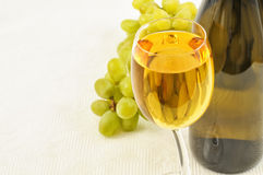 Winglass,bottle and green grapes Royalty Free Stock Photos